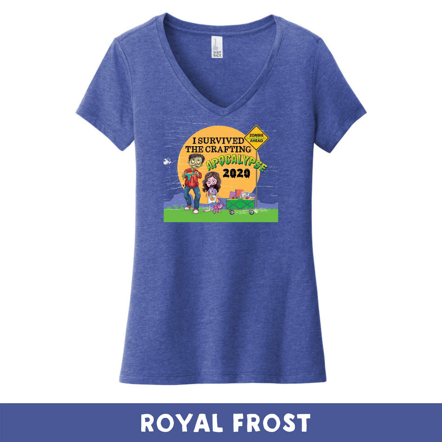 Royal Frost - Woman's Cut V-Neck - Heathered & Frosts- I Survived The 2020 Crafting Apocalypse