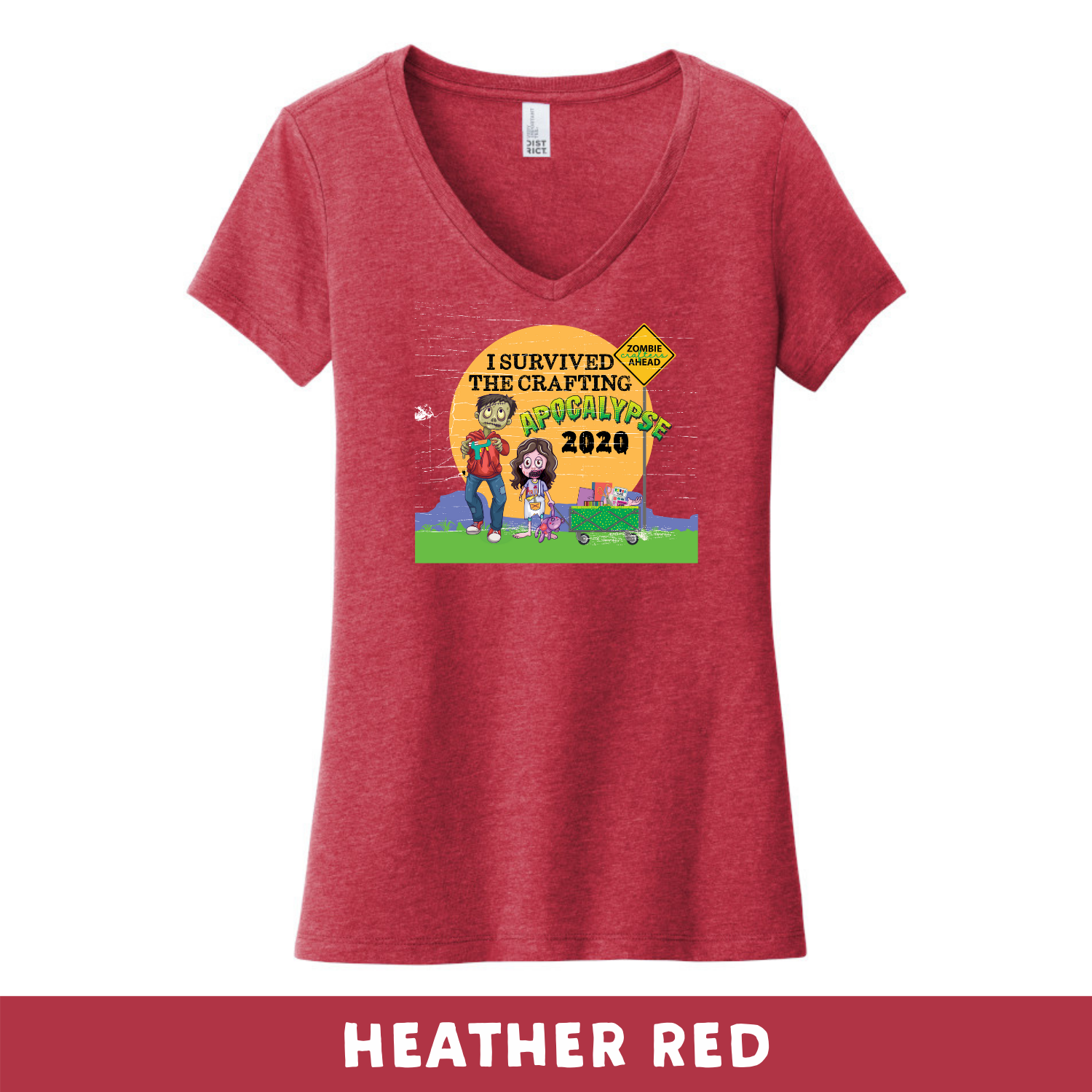 Heather Red - Woman's Cut V-Neck - Heathered & Frosts - I Survived The 2020 Crafting Apocalypse