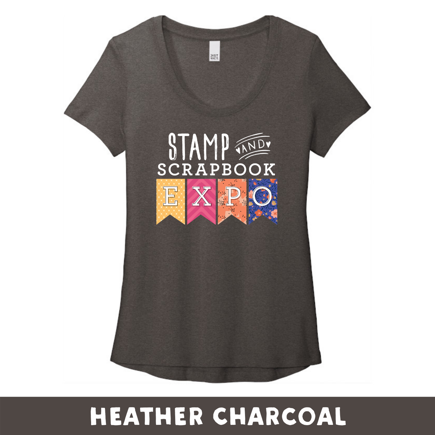 Heather Charcoal -  Woman's Cut Scoop Neck DT7501 - Stamp & Scrapbook Expo Color Logo