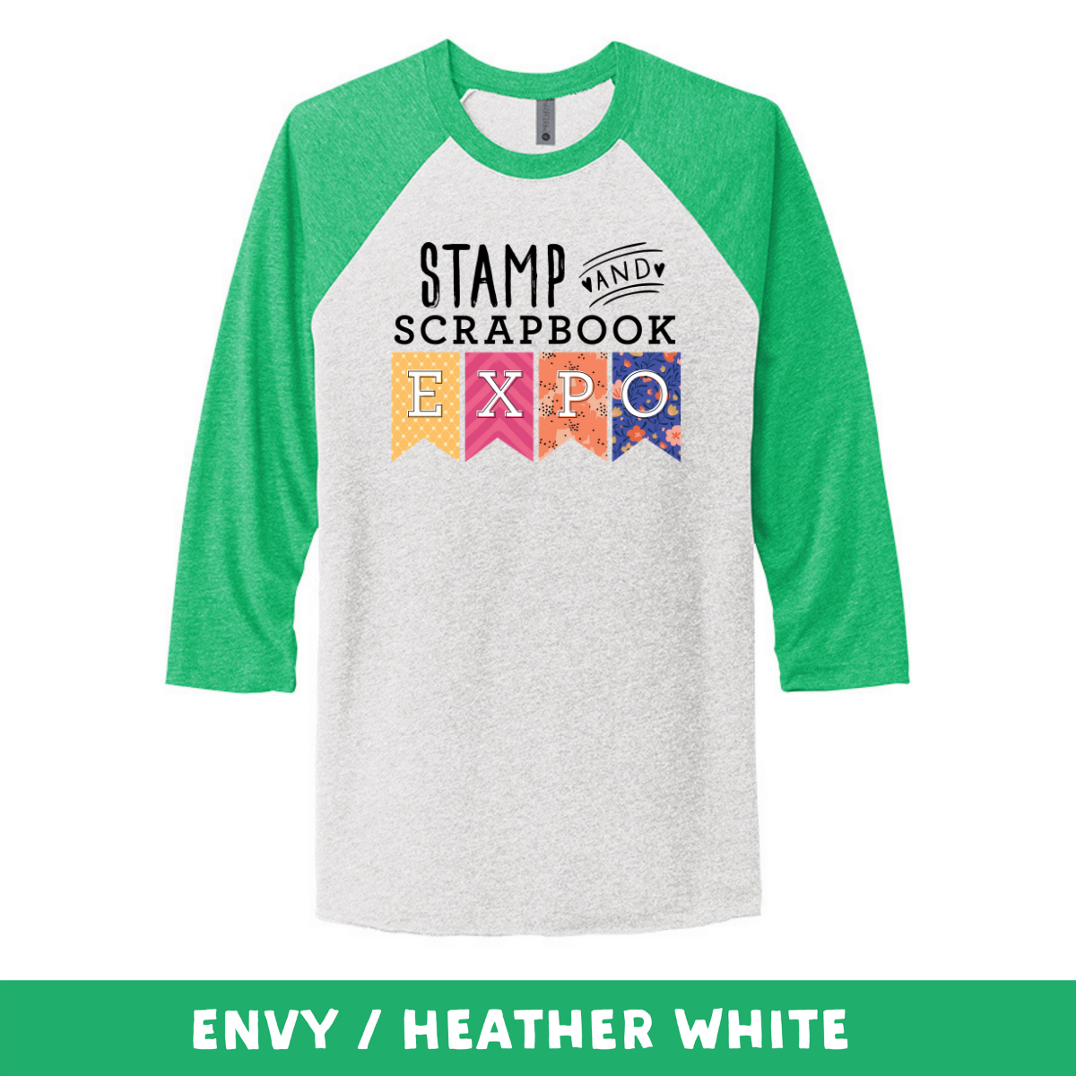 Envy Heather White - Unisex Tri-Blend 3/4 Sleeve Raglan Tee - Stamp & Scrapbook Expo Color Logo