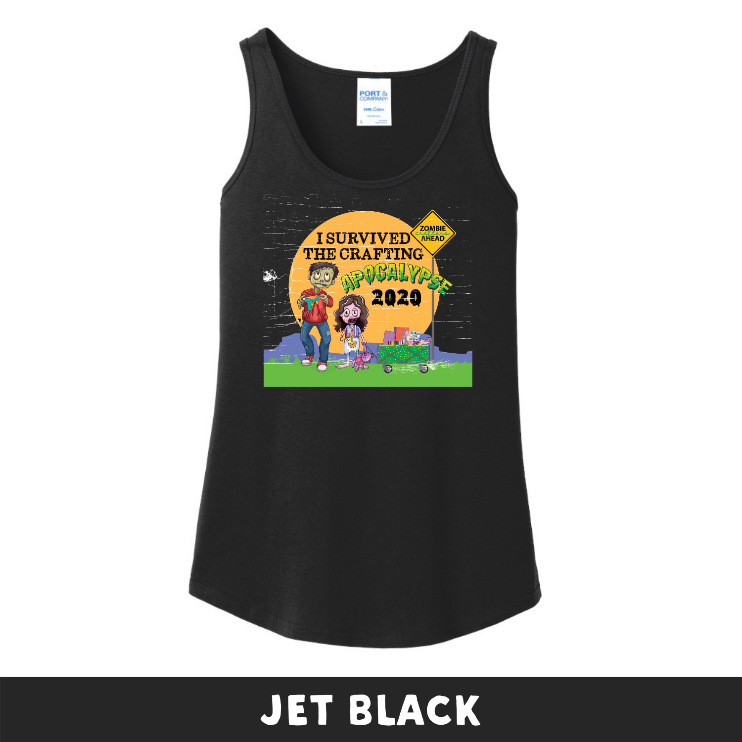 Jet Black -  Woman's Cut Tank Top - I Survived The 2020 Crafting Apocalypse