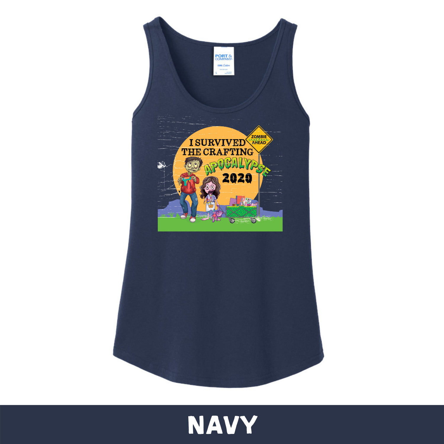 Navy -  Woman's Cut Tank Top - I Survived The 2020 Crafting Apocalypse