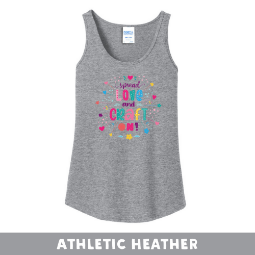 Athletic Heather - Woman's Cut Tank Top - Spread Love and Craft On