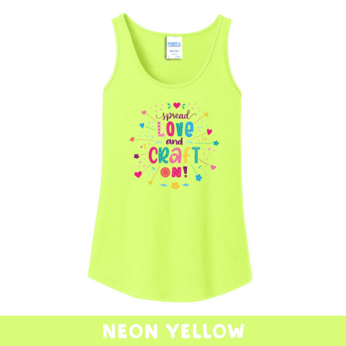 Neon Yellow - Woman's Cut Tank Top - Spread Love and Craft On