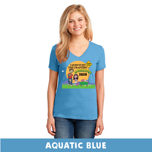 Aquatic Blue - Woman's Cut V-Neck - I Survived The 2020 Crafting Apocalypse