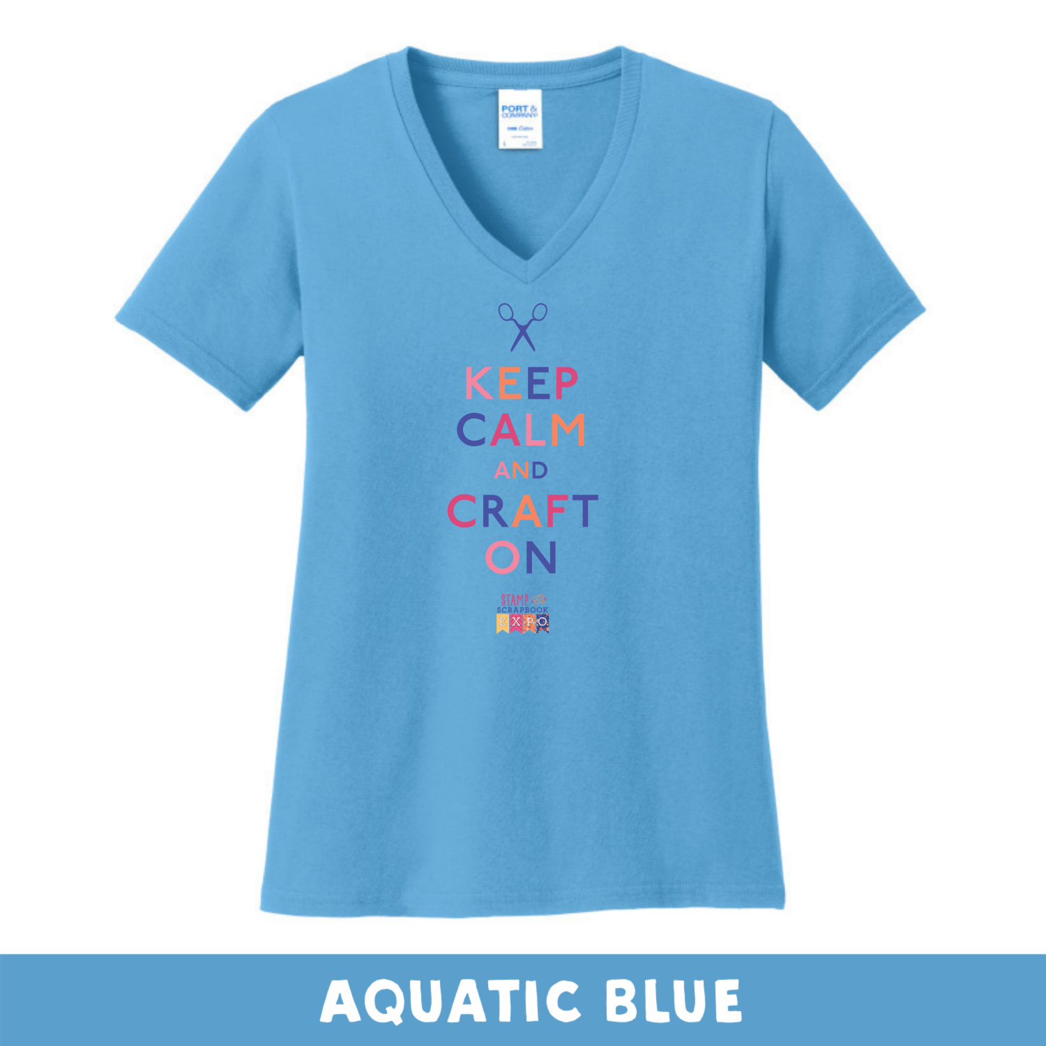 Aquatic Blue - V-Neck Woman's Cut - Keep Calm & Craft On