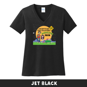 Jet Black - Woman's Cut V-Neck - I Survived The 2020 Crafting Apocalypse