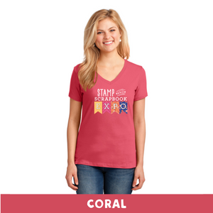 Coral - Woman's Cut V-Neck - Stamp & Scrapbook Expo Color Logo