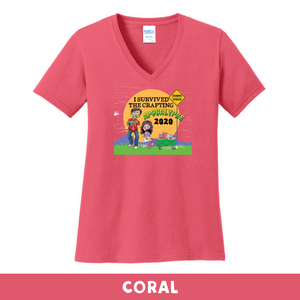 Coral - Woman's Cut V-Neck - I Survived The 2020 Crafting Apocalypse