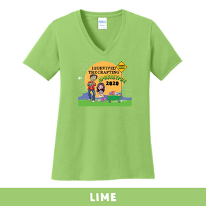 Lime- Woman's Cut V-Neck - I Survived The 2020 Crafting Apocalypse