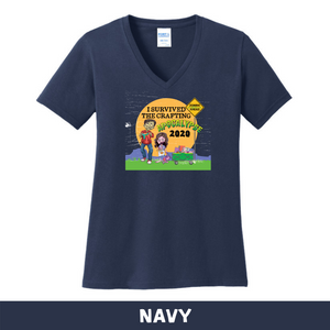 Navy - Woman's Cut V-Neck - I Survived The 2020 Crafting Apocalypse