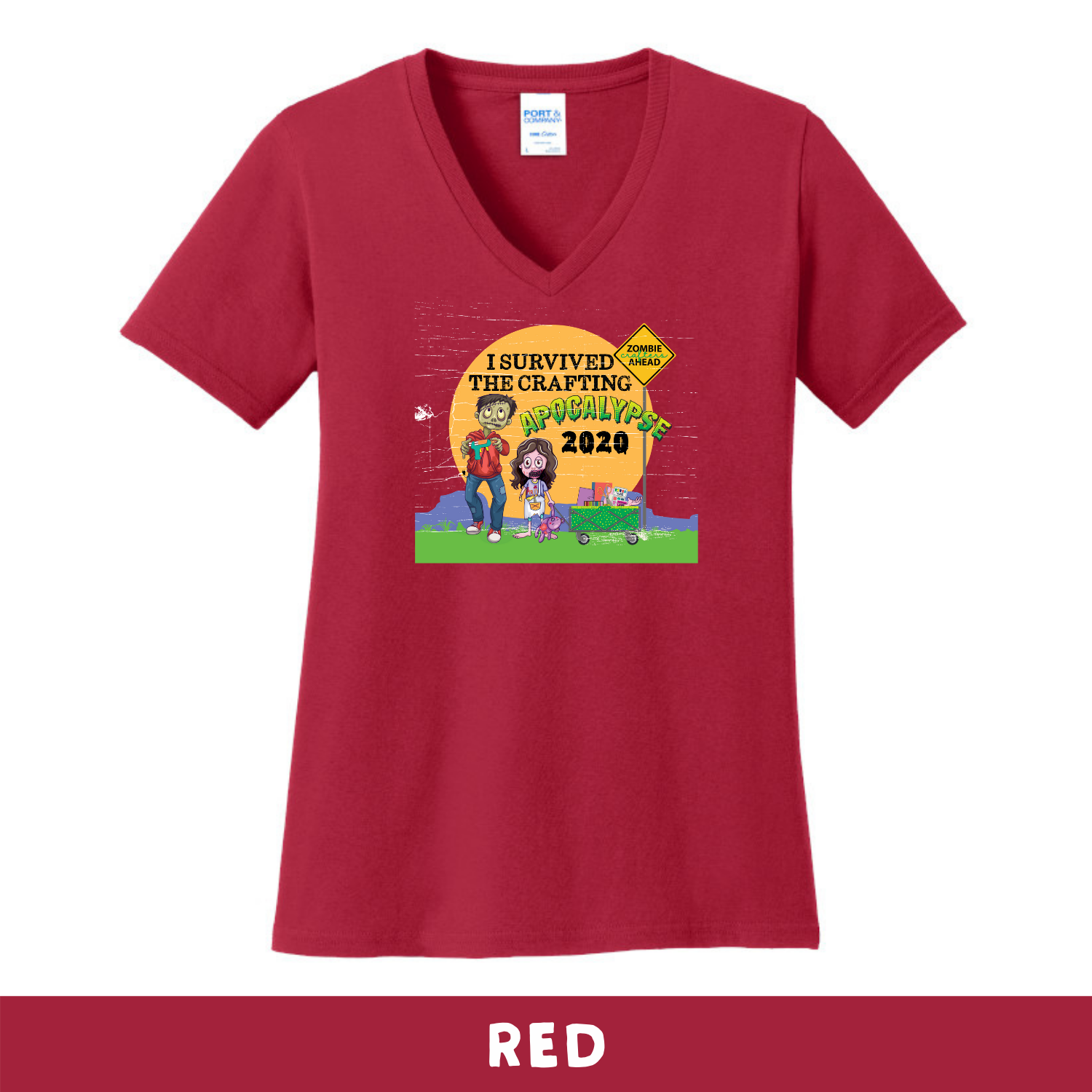 Red - Woman's Cut V-Neck - I Survived The 2020 Crafting Apocalypse