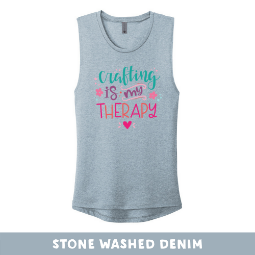 Stone Washed Denim - Women's Festival Tank Top - Crafting Is My Therapy