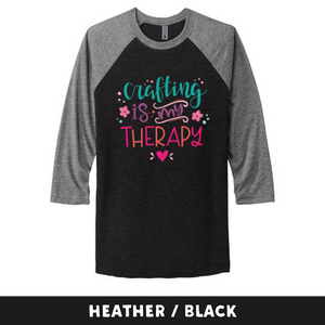 Heather Black - Unisex Tri-Blend 3/4 Sleeve Raglan Tee - Crafting Is My Therapy