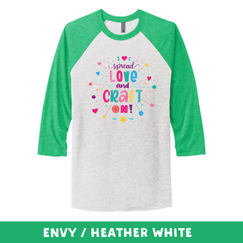 Envy Heather White - Unisex Tri-Blend 3/4 Sleeve Raglan Tee - Spread Love and Craft On