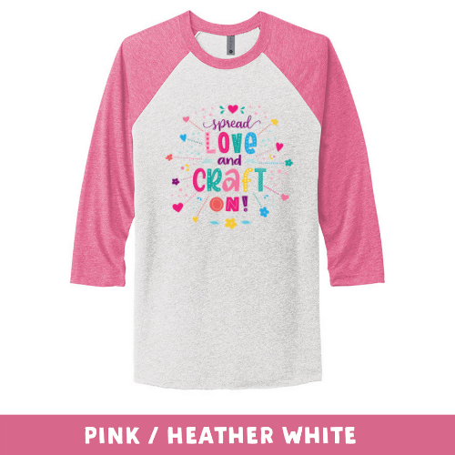 Pink Heather White - Unisex Tri-Blend 3/4 Sleeve Raglan Tee - Spread Love and Craft On