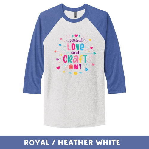 Royal Heather White - Unisex Tri-Blend 3/4 Sleeve Raglan Tee - Spread Love and Craft On