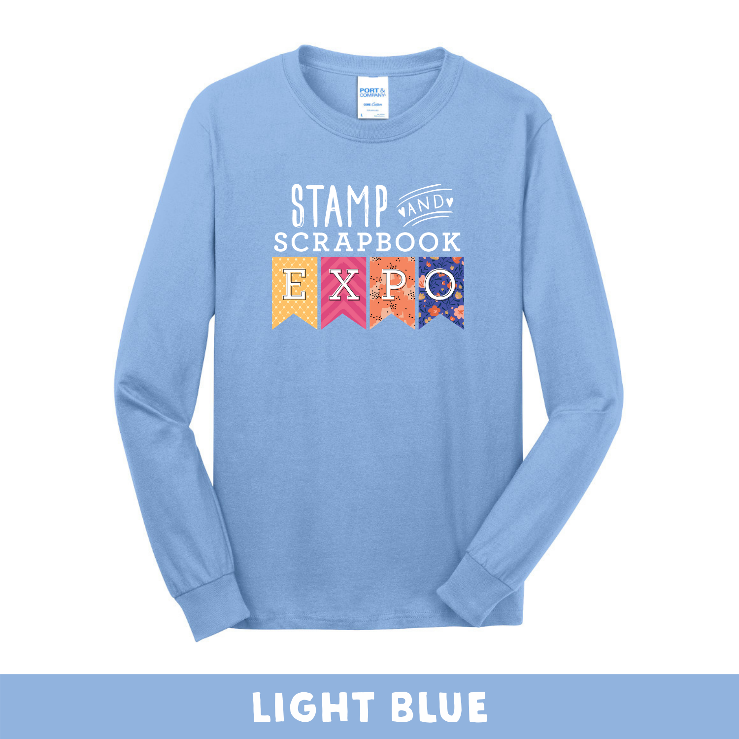 Light Blue -  Long Sleeve Unisex T-Shirt - Stamp & Scrapbook Expo Color Logo