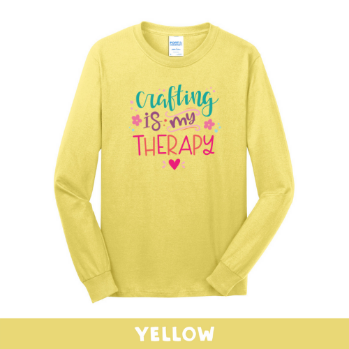 Yellow - Long Sleeve Unisex T-Shirt - Crafting Is My Therapy