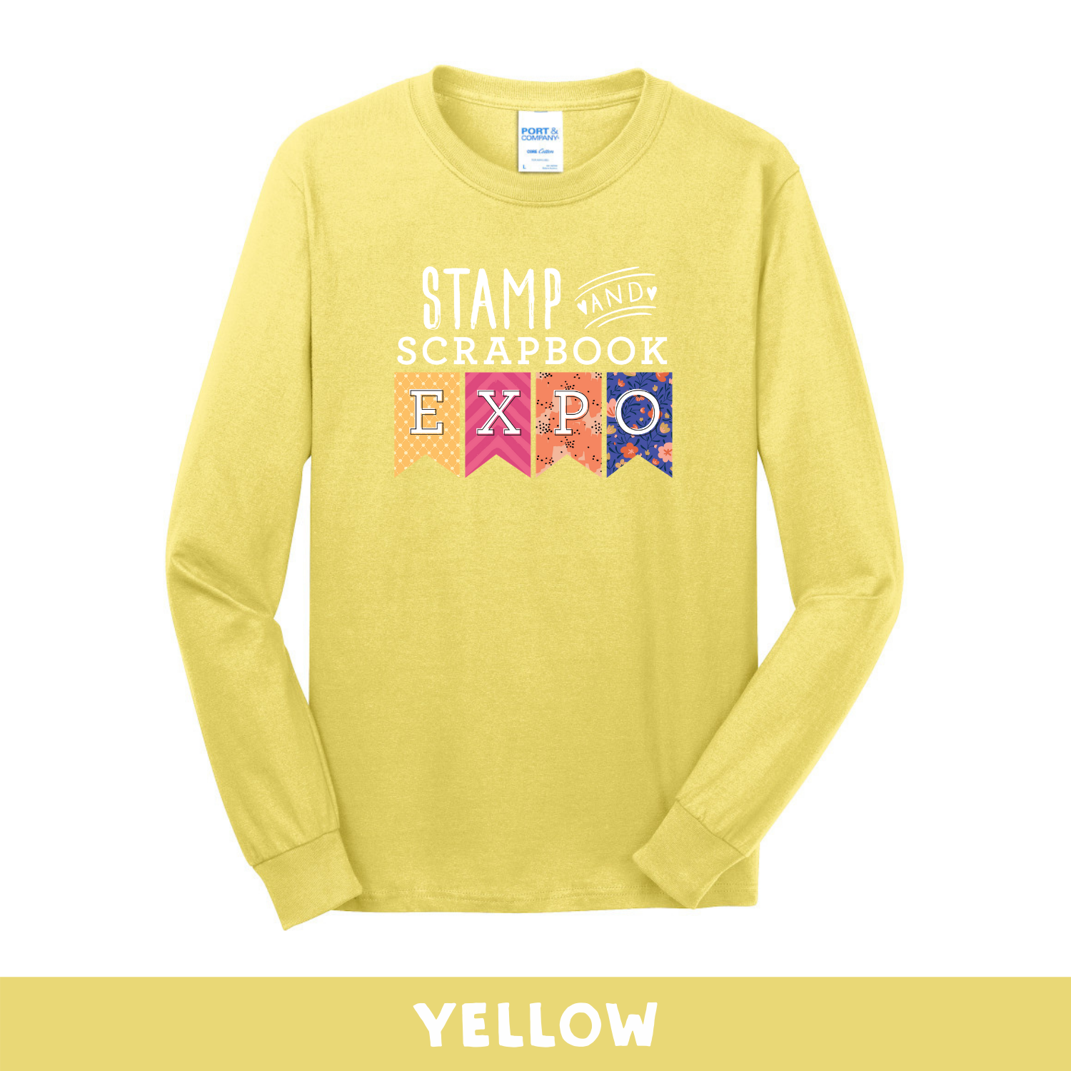 Yellow -  Long Sleeve Unisex T-Shirt - Stamp & Scrapbook Expo Color Logo