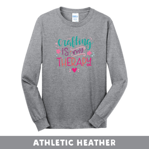 Athletic Heather - Long Sleeve Unisex T-Shirt - Crafting Is My Therapy