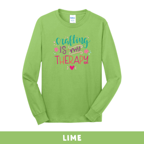 Lime - Long Sleeve Unisex T-Shirt - Crafting Is My Therapy