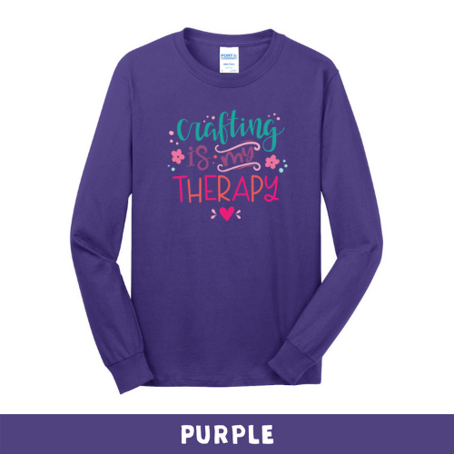 Purple - Long Sleeve Unisex T-Shirt - Crafting Is My Therapy
