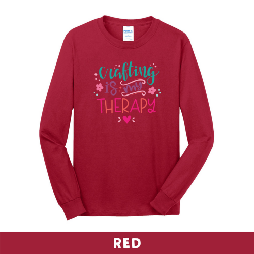 Red - Long Sleeve Unisex T-Shirt - Crafting Is My Therapy