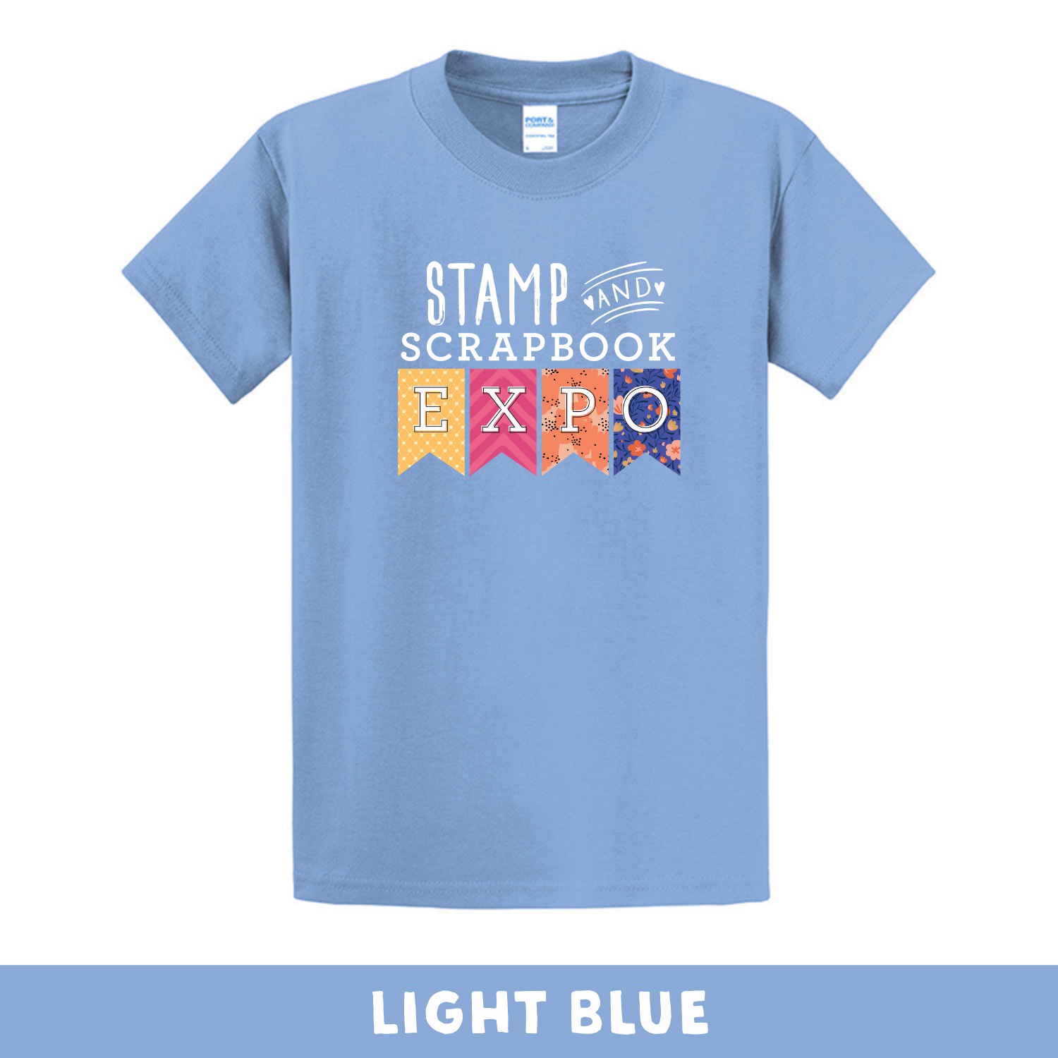 Light Blue - Crew Neck Unisex T-Shirt - Stamp & Scrapbook Expo Color Logo