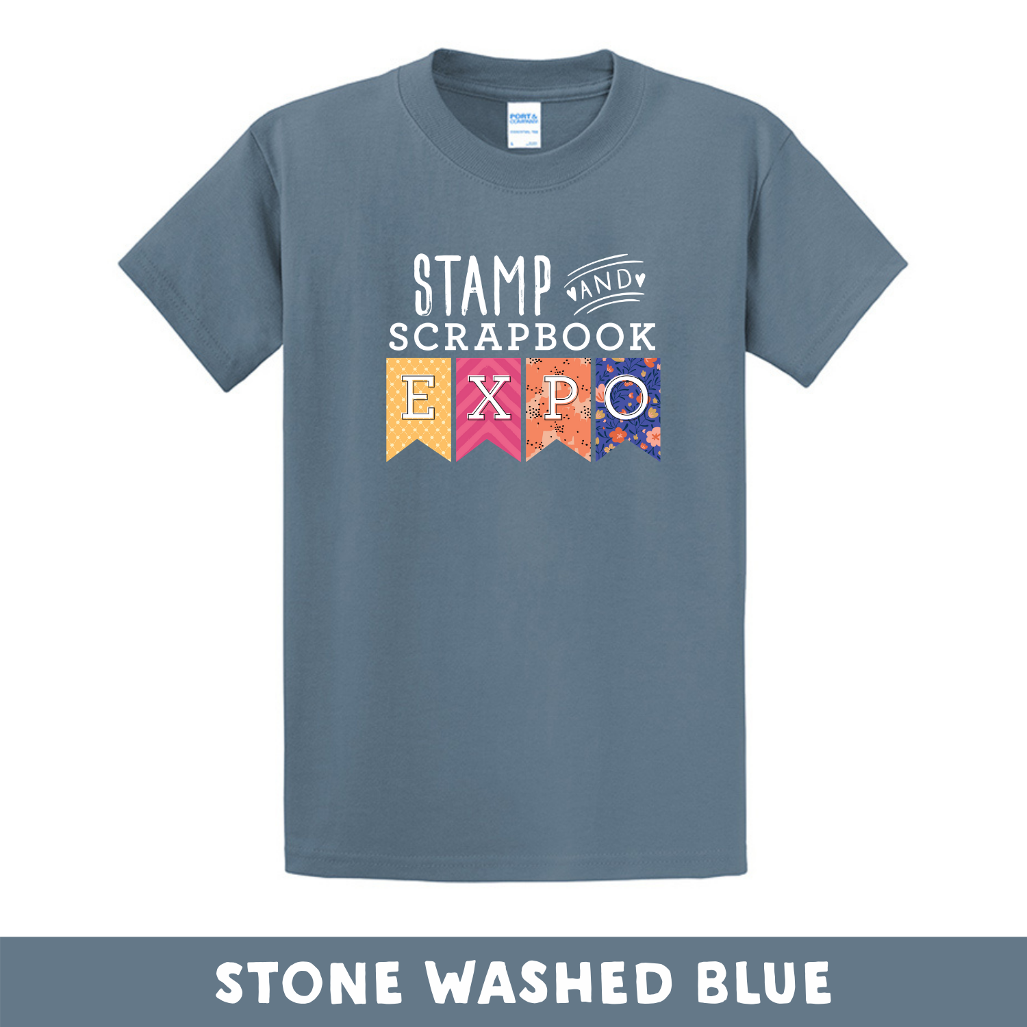 Stone Washed Blue - Crew Neck Unisex T-Shirt - Stamp & Scrapbook Expo Color Logo