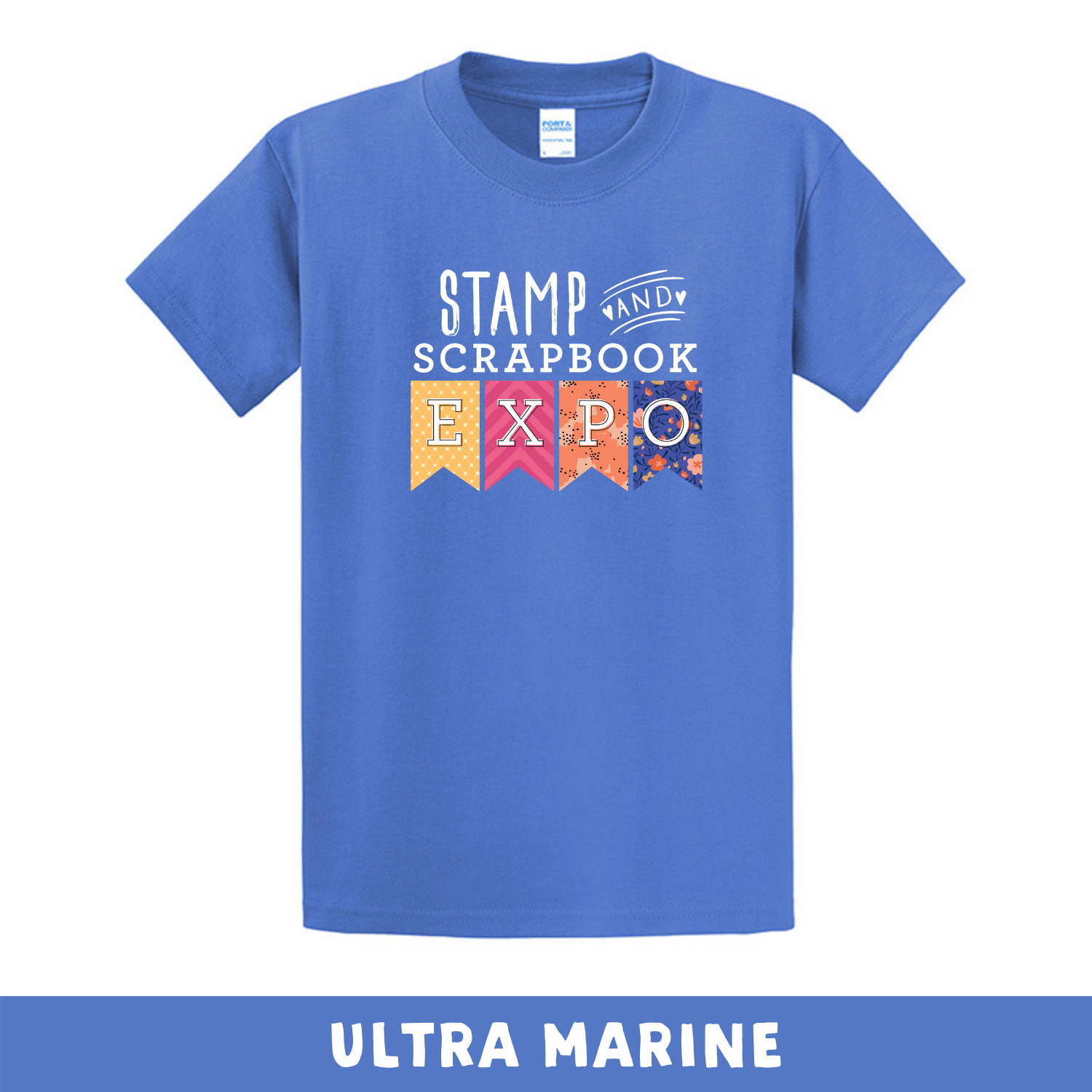 Ultra Marine - Crew Neck Unisex T-Shirt - Stamp & Scrapbook Expo Color Logo