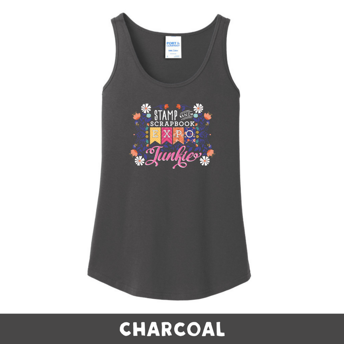 Charcoal -  Woman's Cut Tank - SSBE Junkie With/Flowers