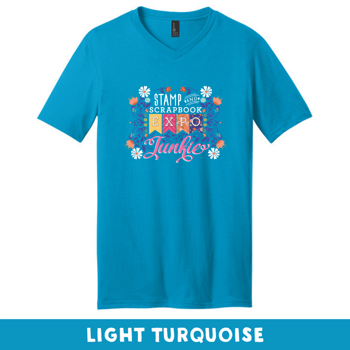 Light Turquoise - Extra Soft Unisex V-Neck - SSBE Junkie With/Flower
