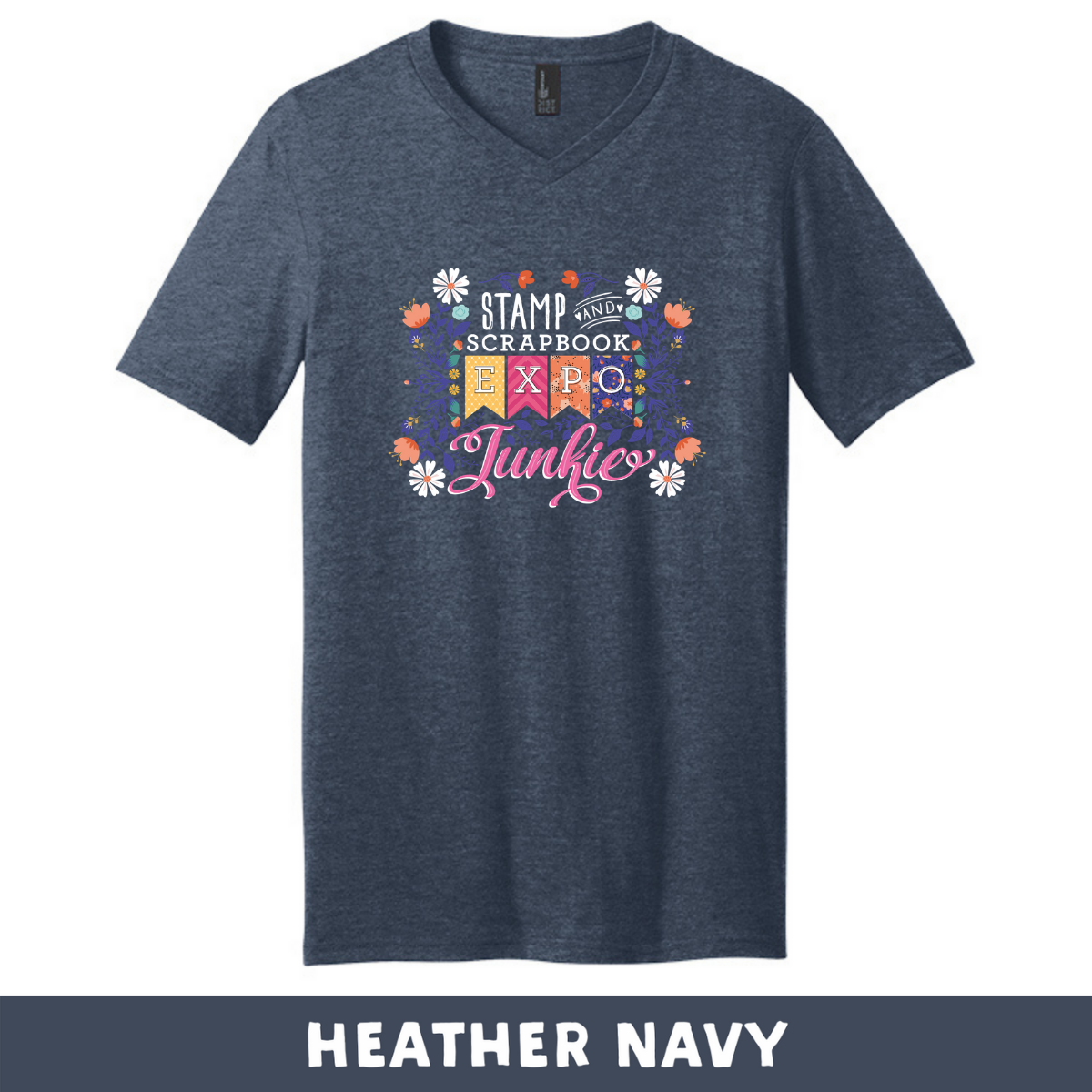 Heather Navy - Extra Soft Unisex V-Neck - SSBE Junkie With/Flower