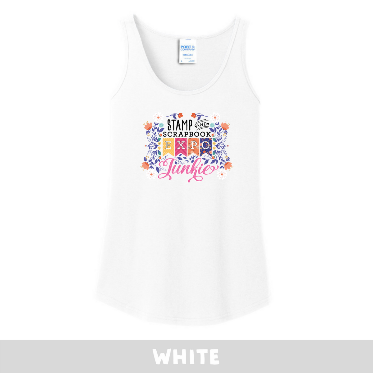 White -  Woman's Cut Tank - SSBE Junkie With/Flowers