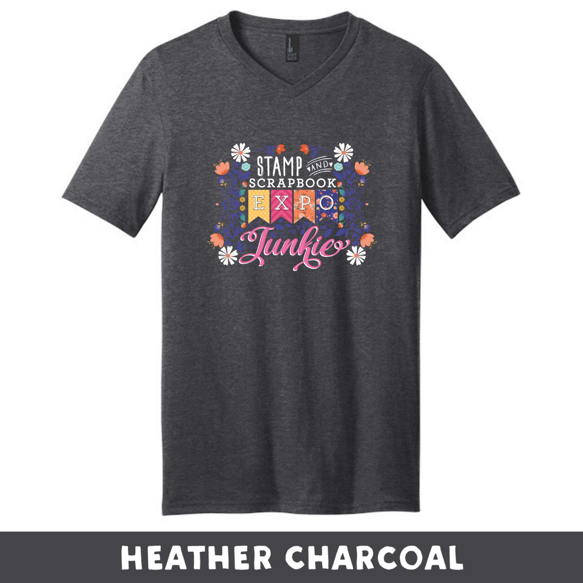 Heather Charcoal - Extra Soft Unisex V-Neck - SSBE Junkie With/Flower