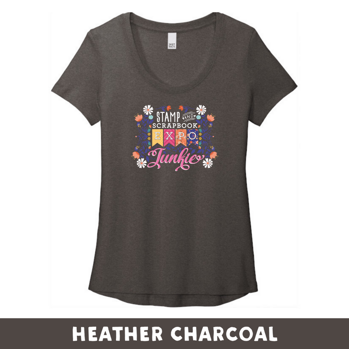 Heather Charcoal -  Woman's Cut Scoop Neck DT7501 - SSBE Junkie With/Flowers