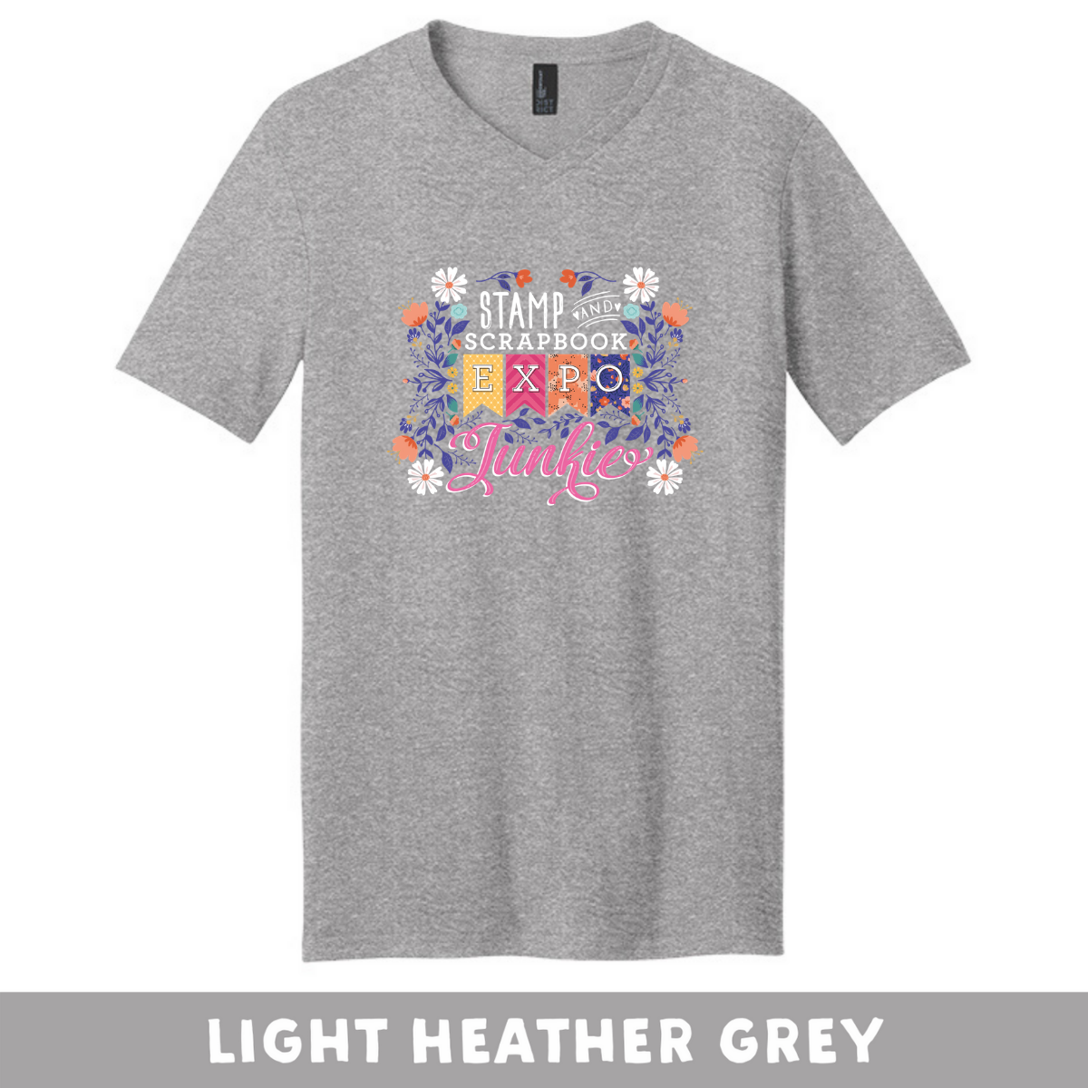 Light Heather Grey - Extra Soft Unisex V-Neck - SSBE Junkie With/Flower