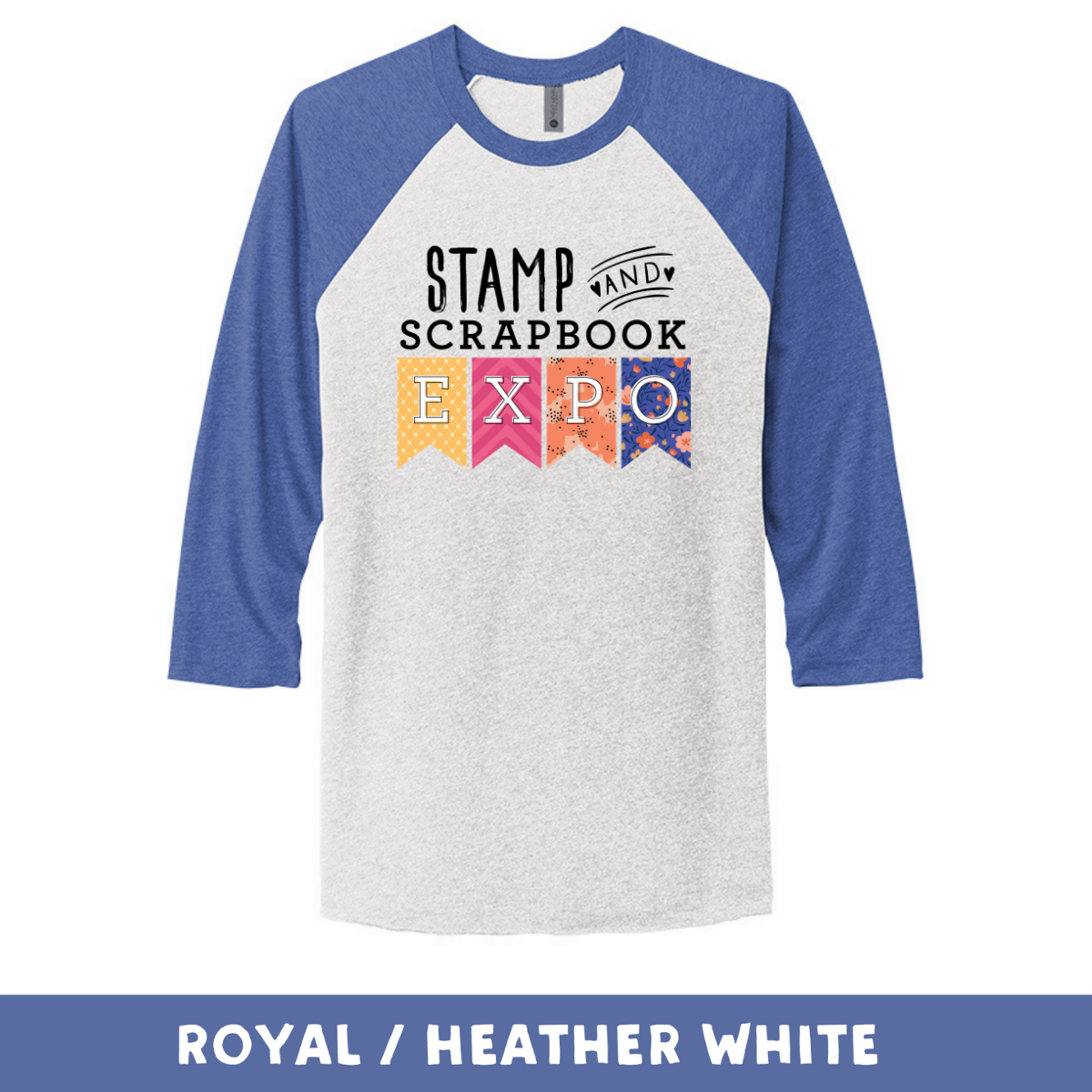 Royal Heather White - Unisex Tri-Blend 3/4 Sleeve Raglan Tee - Stamp & Scrapbook Expo Color Logo