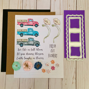 Tall Mouse Cre8tive Artz- Spring Truck & Floral 3.21 Slimline Project Kit