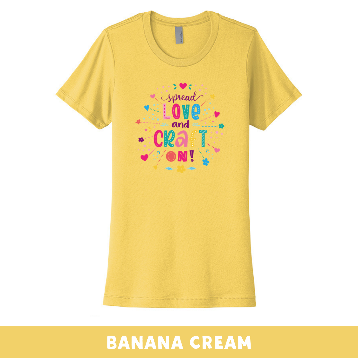 Banana Cream - Crew Neck Boyfriend Tee - Spread Love and Craft On