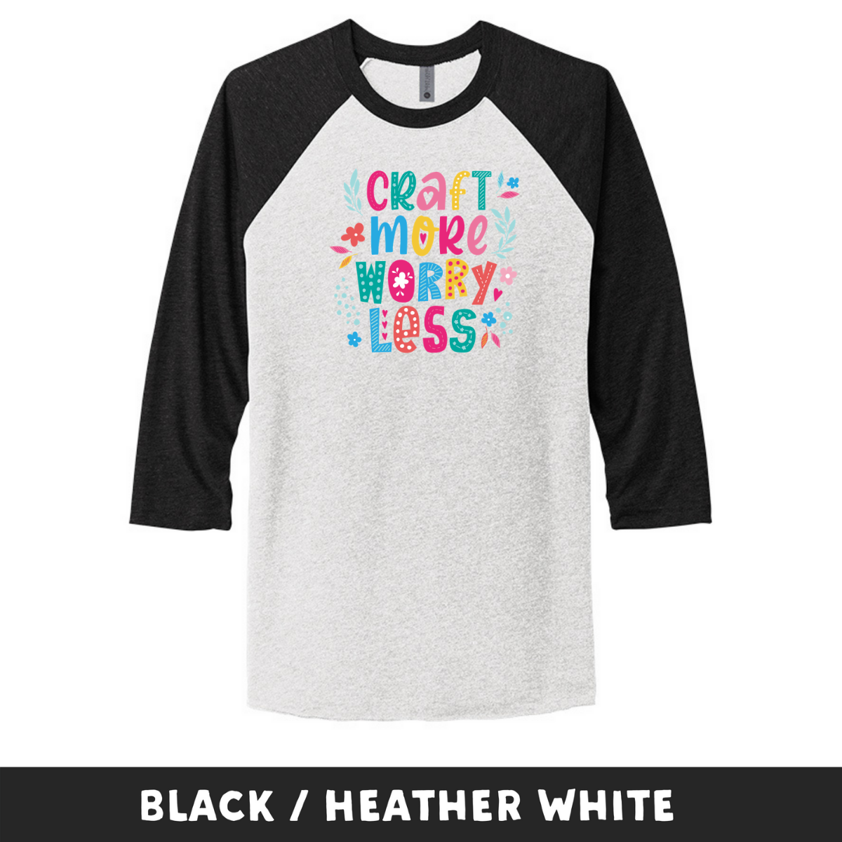 Black Heather White - Unisex Tri-Blend 3/4 Sleeve Raglan Tee - Craft More Worry Less