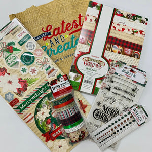 Slimline Card Swap - 20 Slimline Cards - BoBunny - Joyful Christmas Kit - For Card Makers