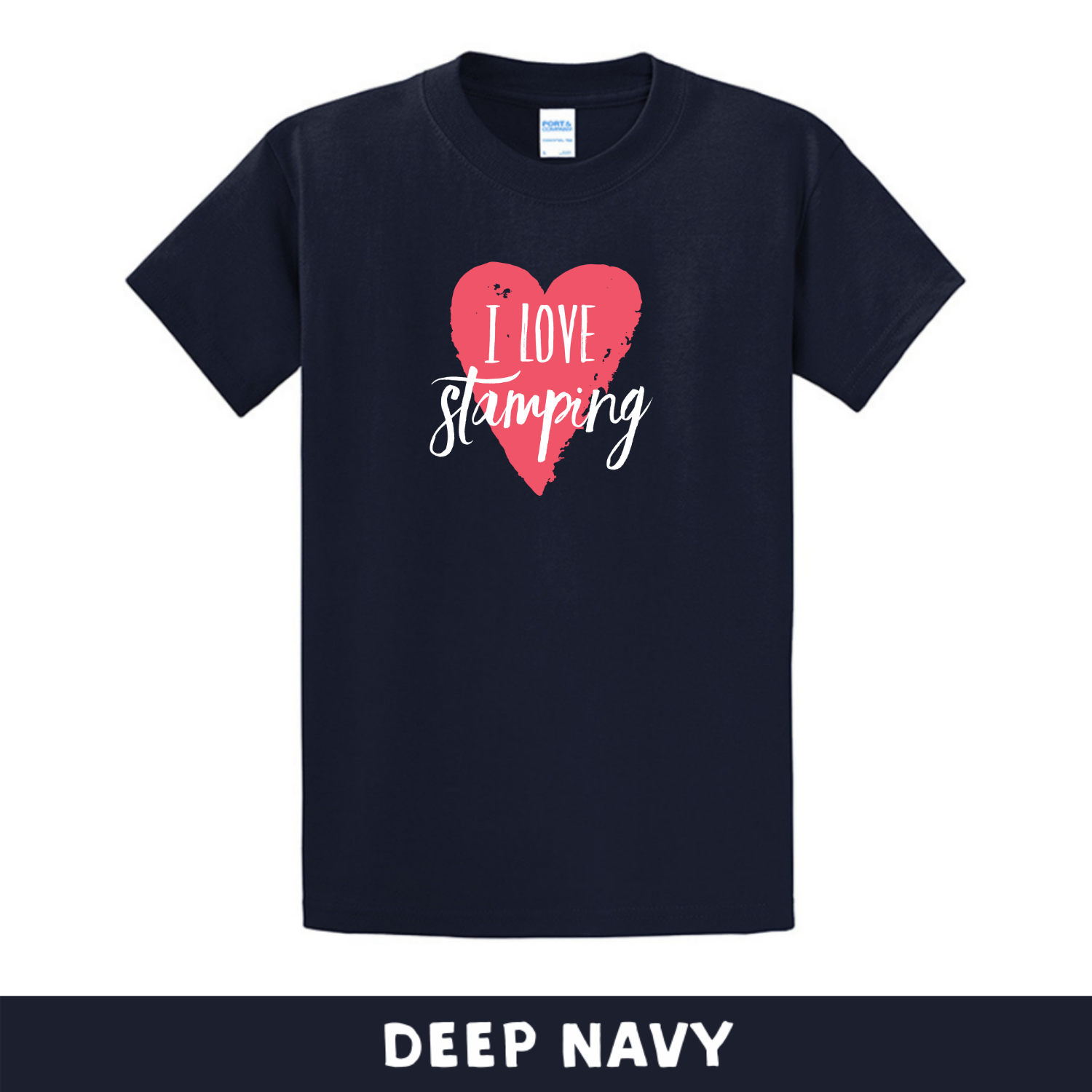 Deep Navy - Crew Neck Unisex T-Shirt - I Love Stamping