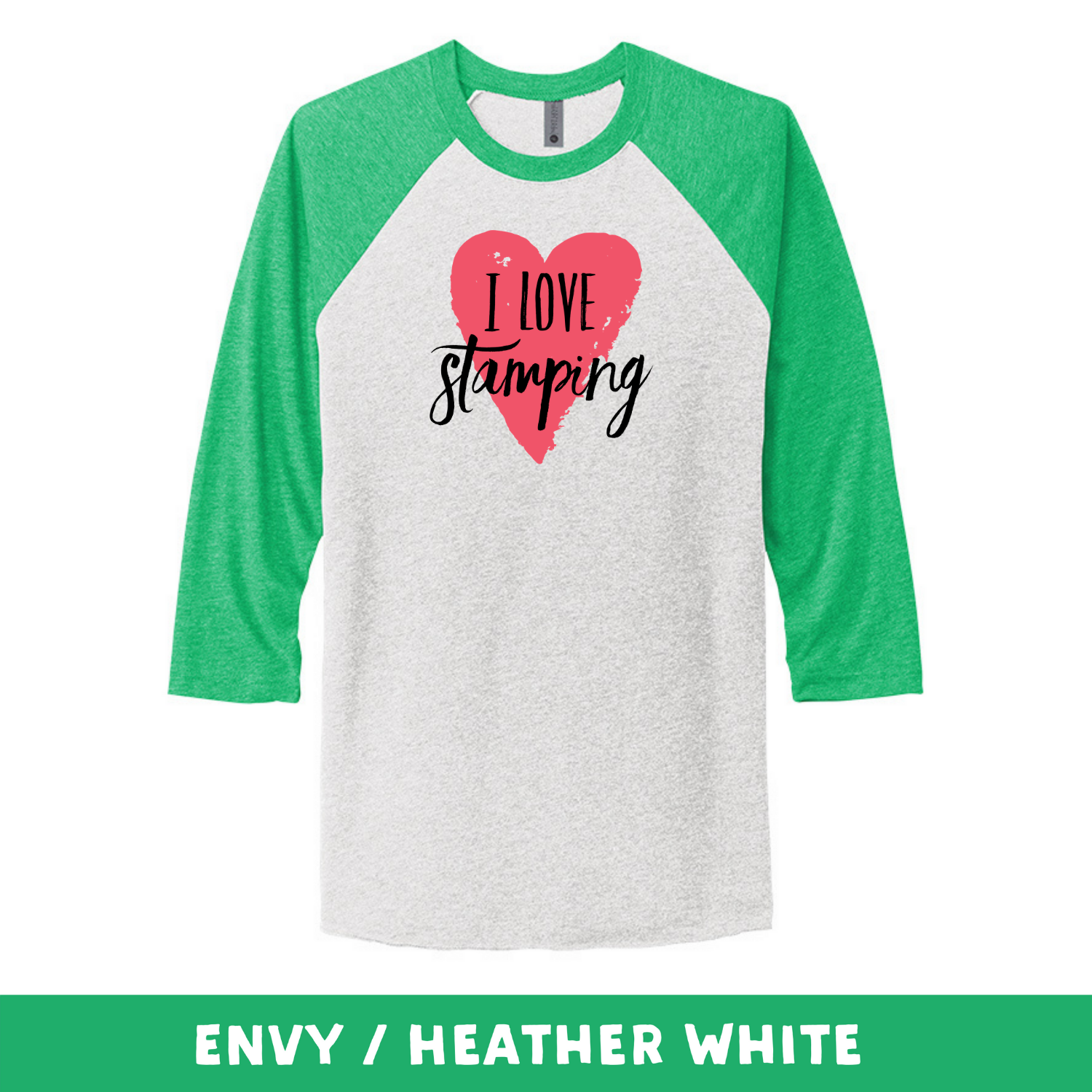 Envy Heather White - Unisex Tri-Blend 3/4 Sleeve Raglan Tee - I Love Stamping