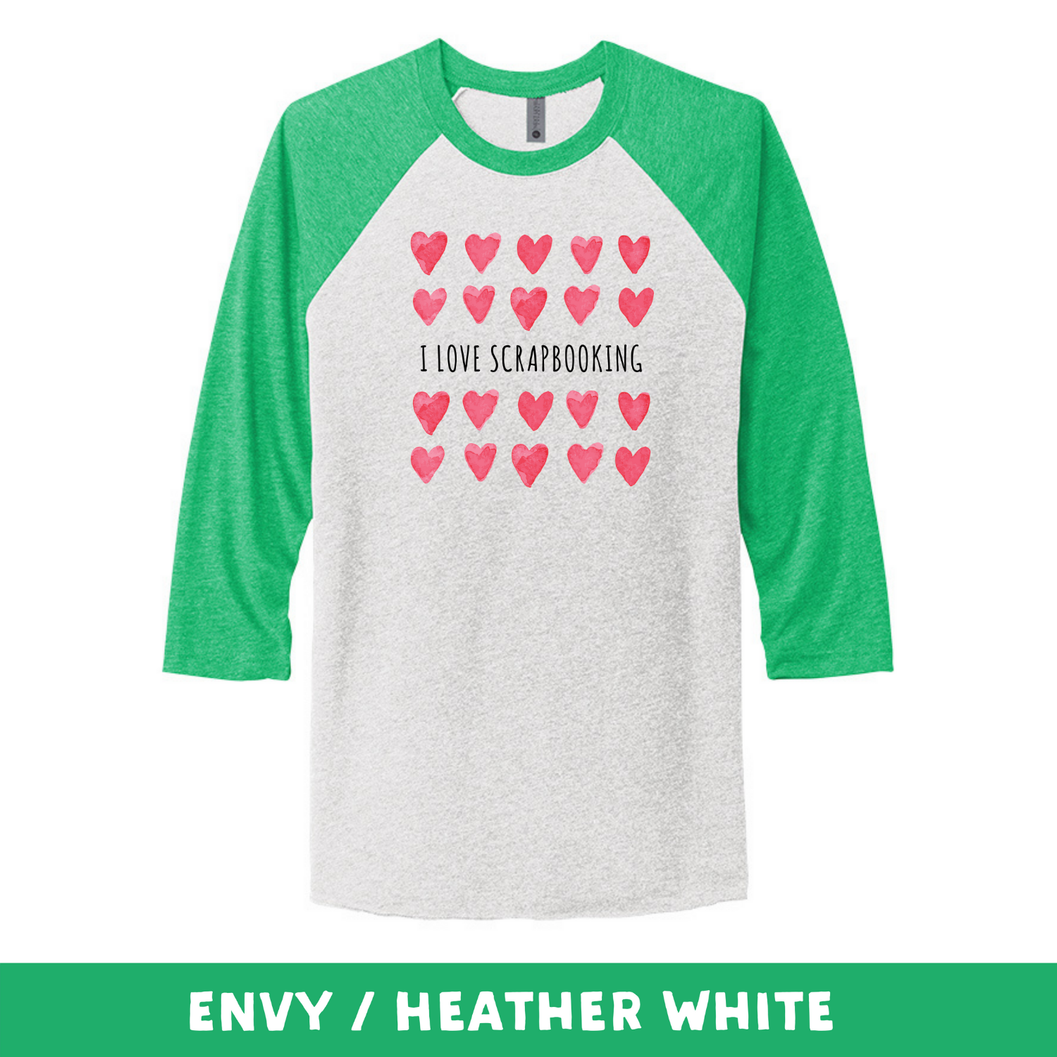 Envy Heather White - Unisex Tri-Blend 3/4 Sleeve Raglan Tee - I Love Scrapbooking