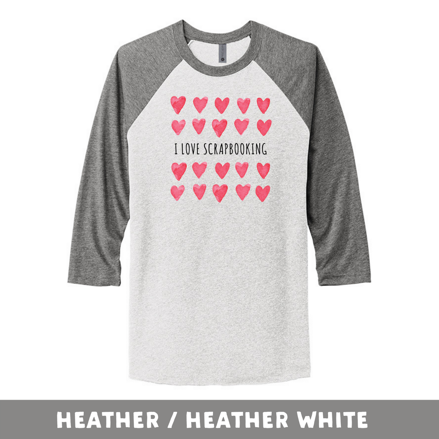 Heather Heather White - Unisex Tri-Blend 3/4 Sleeve Raglan Tee - I Love Scrapbooking