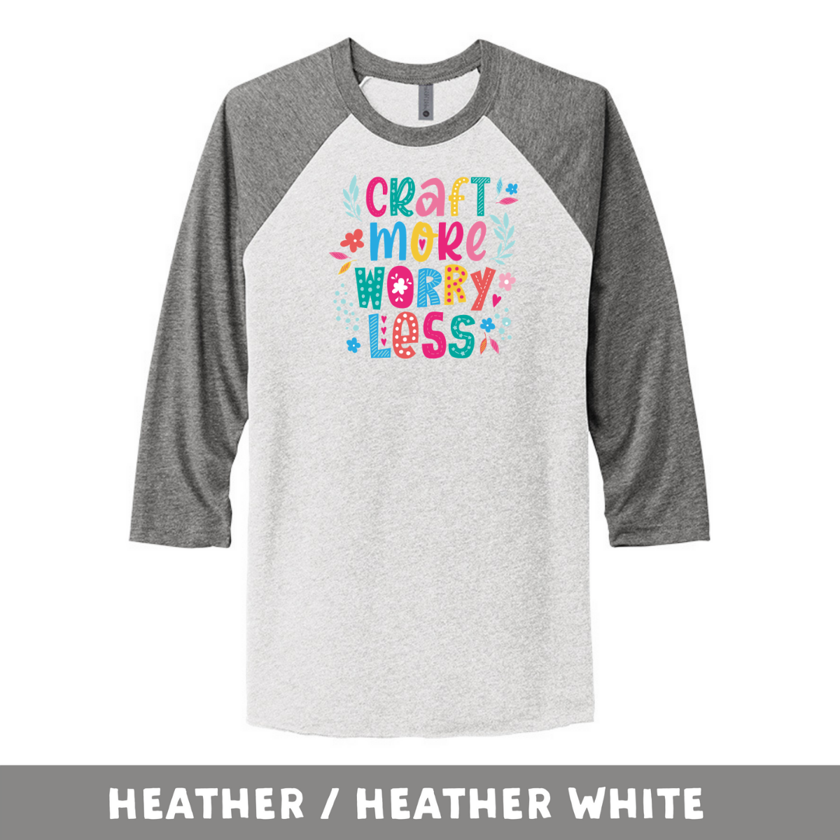Heather Heather White - Unisex Tri-Blend 3/4 Sleeve Raglan Tee - Craft More Worry Less