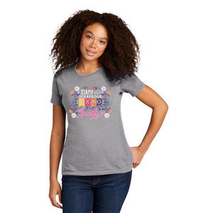 Heather Grey - Crew Neck Boyfriend Tee - SSBE Junkie with Flowers