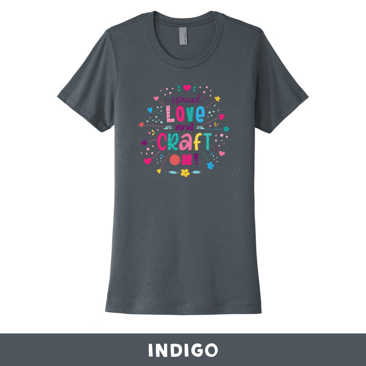 Indigo - Crew Neck Boyfriend Tee - Spread Love and Craft On